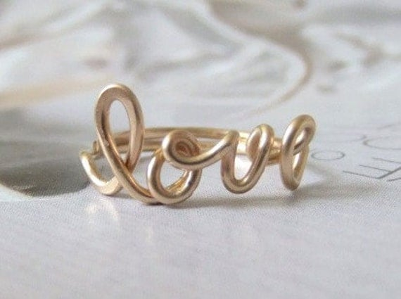 love ring 14k gold filled, word ring, wire ring
