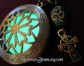 Celtic Cross Glow Locket Shamrock Charm Necklace