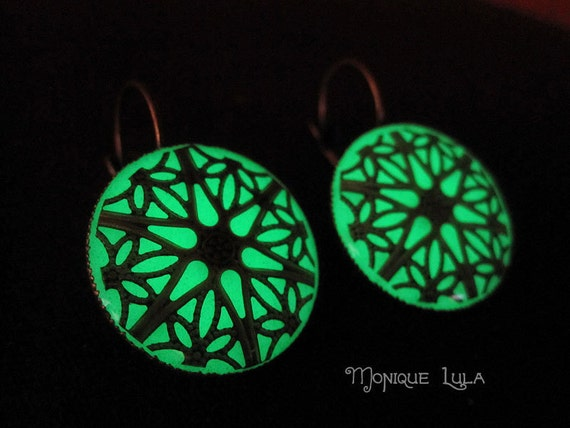 Green Glow in the Dark Antiqued Brass Filigree Earrings