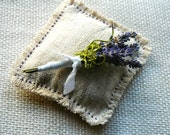 10 Wedding Boutonnieres of Dried Lavender  and Green Moss