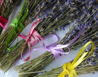 10  Dried Lavender Bouquets or Favors Wrapped in Pastel Ribbons