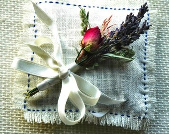Dried Lavender  and Rose Corsage or Boutonniere