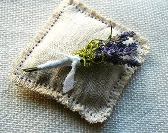 Dried Lavender  and Green Moss Boutonniere or Corsage