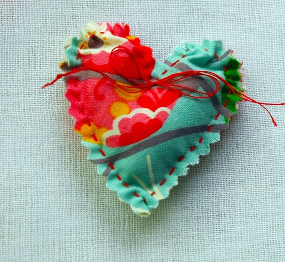 Custom Listing for Lindsey 5 Aqua and Red  Mini  Ruffled Heart Pocket Sachets filled with Lavender