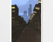 6pm III--Chicago Avenue Station archival print 7x10 with 11x14 mat