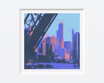 Chicago River II--archival print with 8x8 mat
