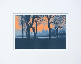 Chicago Lakefront print with 8x10 solid core mat