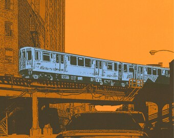 Blue line archival print with 8x8 mat