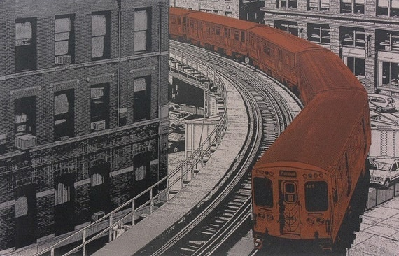 BROWN LINE--5x7print, complete with 8x10 mat board