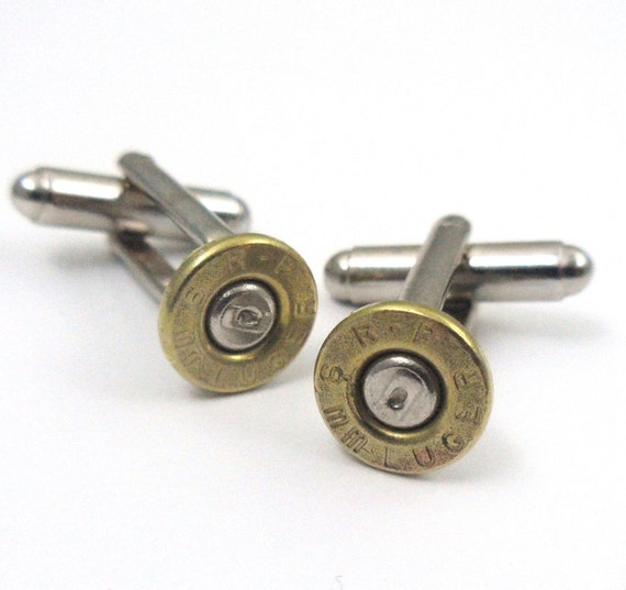 LAST PAIR- 9mm Pistol Bullet Casing Shell Cufflinks