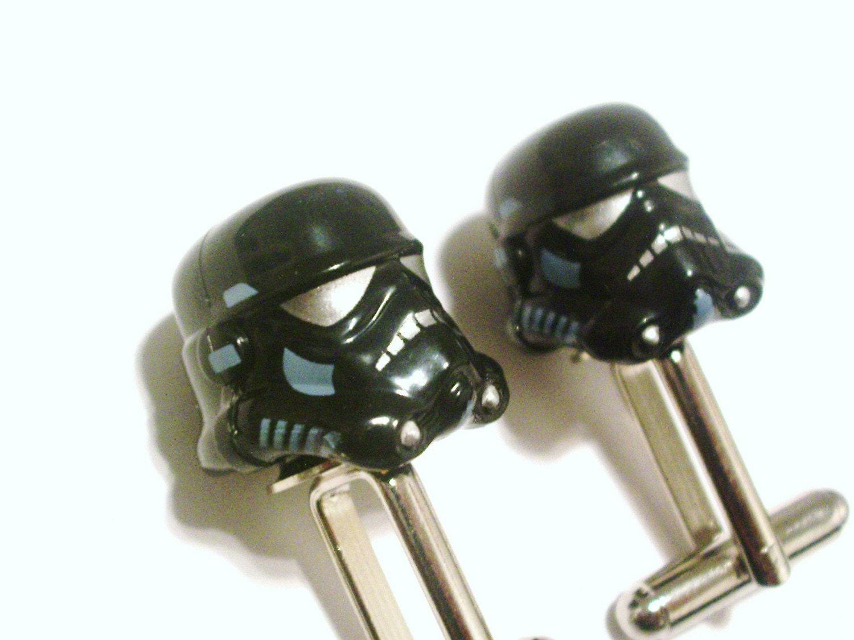 Star Wars Shadow Storm Trooper Helmet Lego Silver Cufflinks