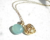 NOW REDUCED 30 PERCENT Sale-Heart Of Gold- Necklace- 14kt Gold -Gemstone