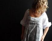 Liberty of London Grey/Blue/ White Large Floral Print Cotton Poplin Dress