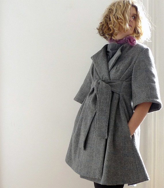grey/blue check wool wrap coat by 13threads on Etsy