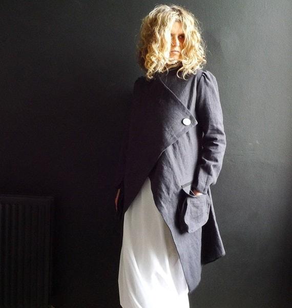 Long Dark Gray Linen Jacket