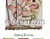 spring Bunnies color & paint tags E-PATTERN
