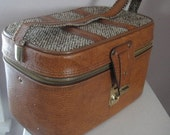 Vintage Two Piece Hinged Airway Train Case, Luggage, Boucle Wool, Brown Faux Leather, Plaid Interior, Cased Mirror
