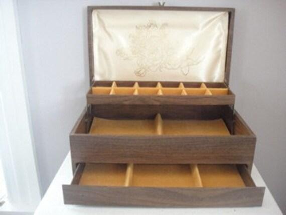 Vintage Jewelry Box, Faux Bois, Woodgrain, Brown, Gold, Flocked Velvet, Rose