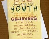 Let no man despise thy youth... 2 - 5x7 Cards w\/envelope