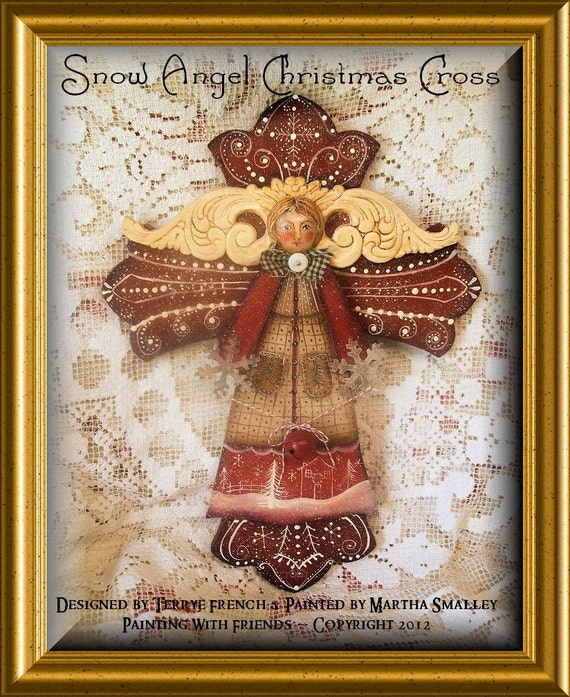 Reserved with pleasure for Lyana121 - Painting With Friends Design - SnOw AnGeL ChRiStMaS CrOss
