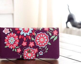 BiFold Clutch Wallet - Handmade Wallet - Vegan Wallet / Sweet Motif in Plum - PREORDER