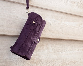 iPhone SmartPhone Clutch Wallet - Rosie MicroSuede Clutch with ID pocket and Wristlet Strap in Aubergine -- Pick Your Fabric