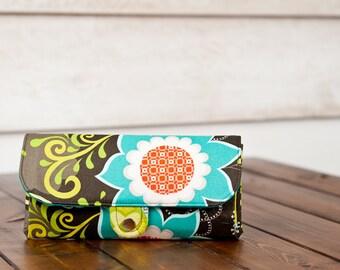 SmartPhone Purse 12x - Ultimate Wallet Clutch with ID pocket / Flourish Garden in Espresso -- PREORDER