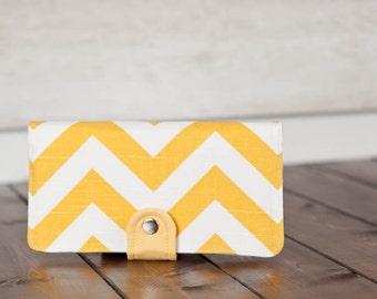 Handmade Wallet - BiFold Clutch Wallet  / Chevron in Sunny Yellow -- PREORDER