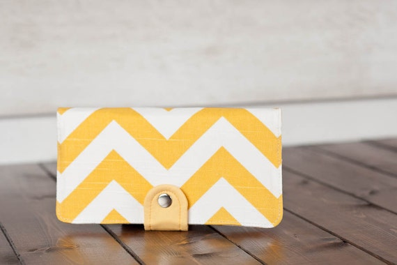 Handmade Wallet - BiFold Clutch Wallet  / Chevron in Sunny Yellow -- PREORDER