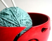 Red Ceramic Wheel Thrown Yarn Bowl - In Process Will Be Ready For Christmas