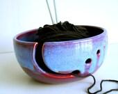Purple Blue Ceramic Wheel Thrown Yarn Bowl - Made to order