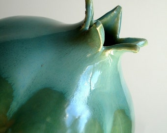 Porcelain Green Pomegranate Vase - MADE TO ORDER
