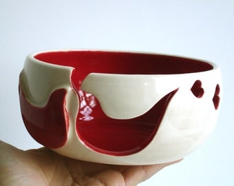 Red Bird Ceramic Wheel Thrown Yarn Bowl - MADE TO ORDER