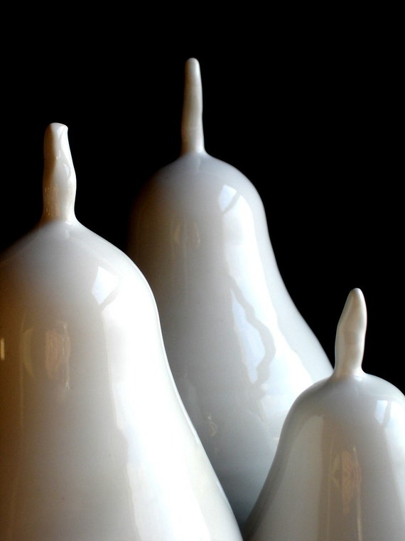 Simple white Porcelain Pear Set - MADE TO ORDER