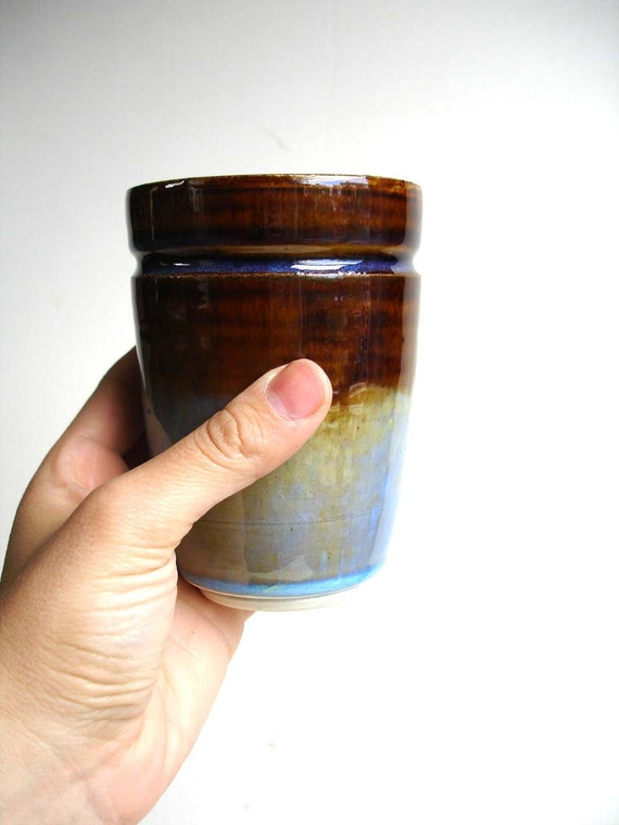 Blue / Brown Stoneware Cup or Vase