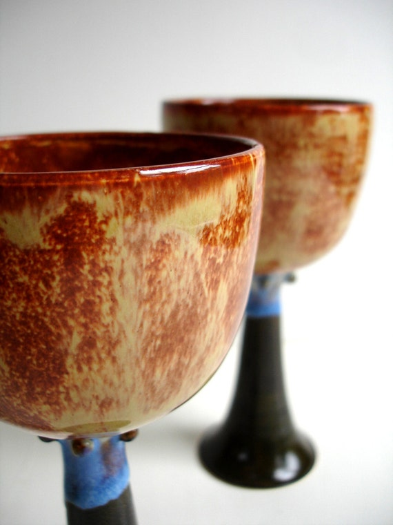 Set Of Two Wheel Thrown Stoneware Autumn Goblets