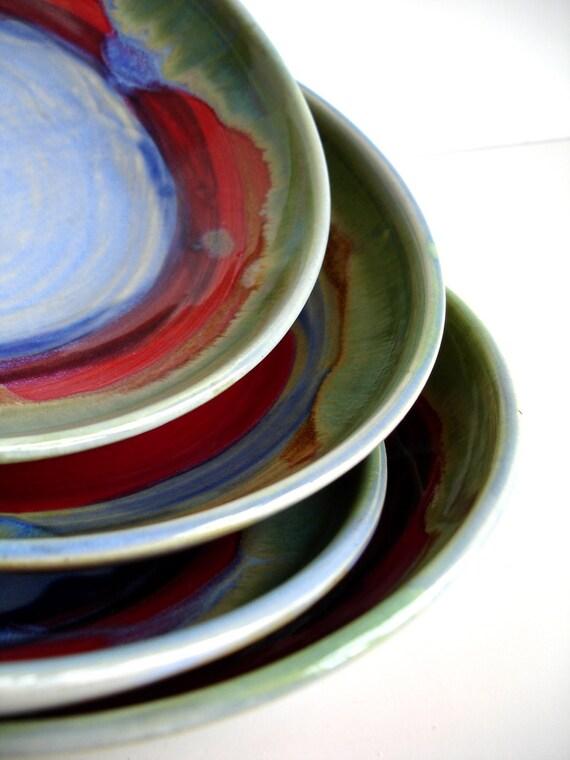 Stoneware Rainbow Medium Size Dishes - Set Of 4 - MADE TO ORDER