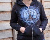 Tree of Life Handmade Midnight Blue Batik Hoodie