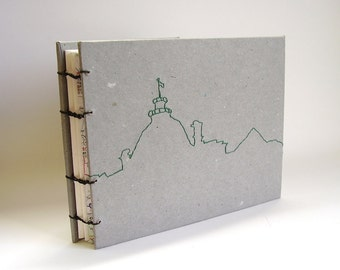 Montreal Embroidered Coptic Bound Travel Journal - Montreal Cityscape Cover