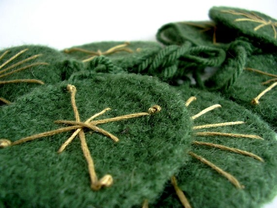 Embroidered Felt Garland in Forest Green