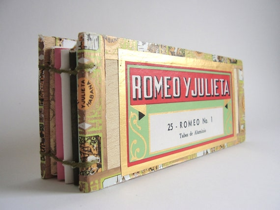Coptic Handbound Cigar Box Recycled Notebook - Romeo Y Julieta