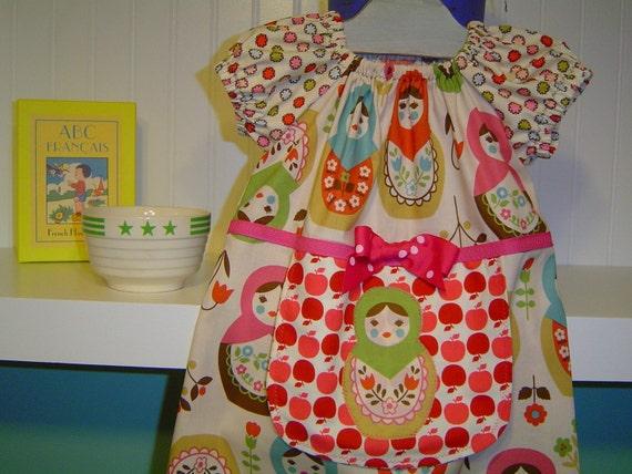 Matryoshka  Russian Nesting Doll Goes to the Farmer's Market  Peasant dress w\/ apron 12 18 24 2T 3T 4T 5