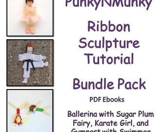 Character Ribbon Sculpture Tutorial Pack Ballerina, Karate Girl, Gymnast and Swimmer INSTANT DOWNLOAD