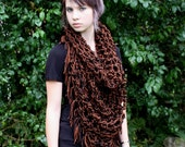 Last one boho fringe cowl neck hood Vegan chunky scarf Black brown