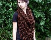 Last one boho fringe cowl neck hood Vegan chunky scarf Black brown