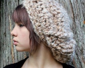 boho oversized beret slouch hat cream taupe brown