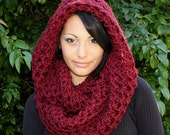The Favorite Cowl neck Scarf hood shawl Cranberry Ruby Red