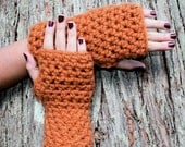 fingerless gloves hand warmers Pumpkin Spice Burnt Orange wool