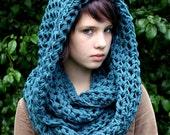 The Favorite Cowl scarf Hood Warmer Vegan Teal blue