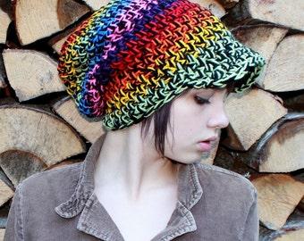 Rainbow Love Rasta boho Beret vegan Hat slouch